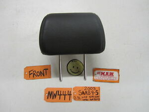 03 Saab 9 5 Right Left Front Seat Headrest Head Rest Graphite Leather 02 04 05