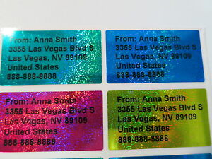 800 Sparkle Four Colors Personalized Waterproof Address Stickers 4 5 X 2 5 Cm