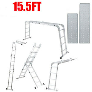 15 5 Ft 4 7m Aluminum Folding Step Extension Platform Scaffold Ladder 330lbs Us