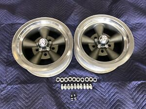 Vintage Pair Of 5 Spoke Ansen Torque Thrust 14x6 4 1 2 4 3 4 Chevy Mopar Ford