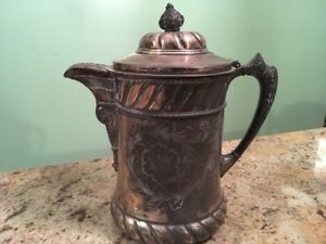 Vintage Silver Plated Ornate Teapot Coffee Pot Hot Water Very Large