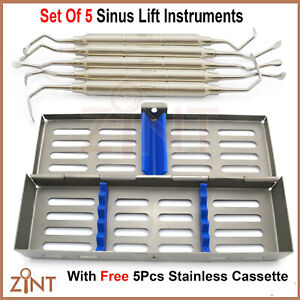 5pcs Dental Sinus Lift Implant Assorted Oral Surgery Kit With Stainless Cassette