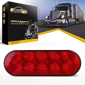 Red 6 Oval Led 10 Diodes Stop Turn Tail Brake Light Trailer Truck Surface Mount