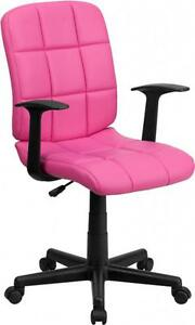 Flash Furniture Mid back Pink Quilted Vinyl Task Chair W nylon Arms New