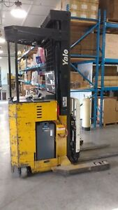 Yale 3500 Lb Standing Electric Forklift Nr035 With Battery And 2 Chargers
