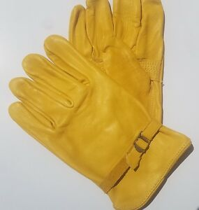 Industrial Leather Work Gloves 6504 Extra Large Yellow One Dozen