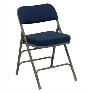 Bowery Hill Metal Folding Chair In Navy