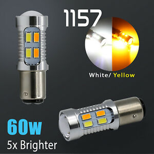 White amber 1157 Led Drl Switchback Turn Signal Parking Light Bulbs Dual Color