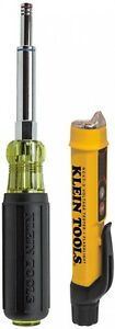 Klein Tools Voltage Tester Nut Driver Kit Non Contact Heavy Duty Handle 2 Piece