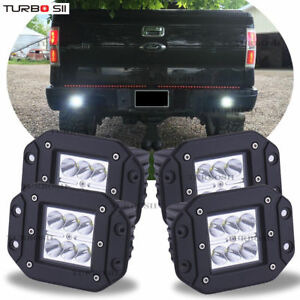 For Ford F150 250 350 Flush Mount Backup Reverse Rear front Bumper 4x Led Lights