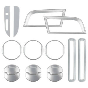 15pcs Silver Interior Decoration Aluminum Trim Cover For Ford Mustang 2015 2018