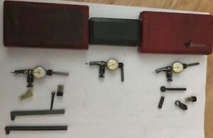 3 Starrett Last Word Dial Test Indicators 711 Cases Attachments Parts 0005 001