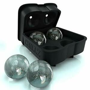 Chillz Ice Ball Maker Mold - Ice Tray - Molds 4 X 1.78 inch Ice Balls Spheres