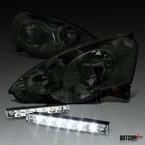 Acura 2002 2004 Rsx Jdm Smoke Tinted Headlights 6 Led Front Bumper Fog Lamps
