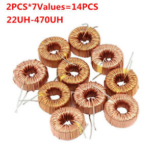 14pcs Toroid Inductor Winding Magnetic Inductors Assorted Kit 22uh 100uh 470uh