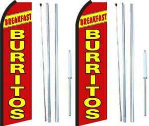 Breakfast Burritos Swooper Flag With Complete Hybrid Pole Set Pack Of 2