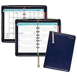 At a glance r Pebble Weekly monthly Ringed Planner 4 7 8in X 8in Navy