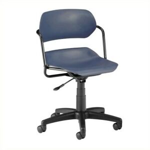 Scranton Co Armless Swivel Office Chair With Black Frame In Navy