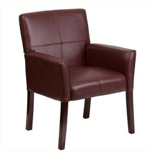Scranton Co Leather Executive Side Guest Chair Burgundy And Mahogany