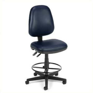 Scranton Co Drafting Office Arm Chair In Navy Vinyl