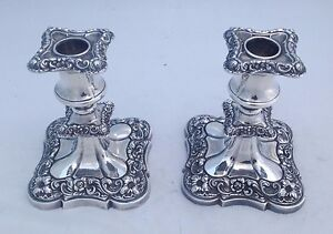 Silverplate Candlesticks Lilies Roses Scrolls Fancy Elegant Ornate