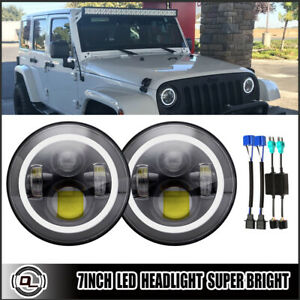 7 Led Halo Angel Eyes Headlight 120w Hi Low Projector Fit Jeep Wrangler Jk Tj Cj
