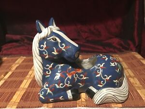Antique Vintage Asian Porcelain Horse Planter Blue Famille Rose 10 X7 1 2