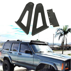 For 84 01 Jeep Cherokee Xj Roof Windshield Mount Bracket Fits 50 Led Light Bar