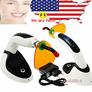 Us Black 2000mw Whitening Wireless Cordless Led Dental Curing Light W 12mm Tip