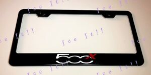 500x Fiat Red Crossover Stainless Steel Black License Plate Frame Rust Free Caps