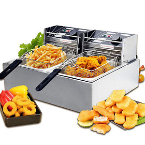 1800w 16l Commercial Electric Deep Fryer W Double Basket Bar Restaurant