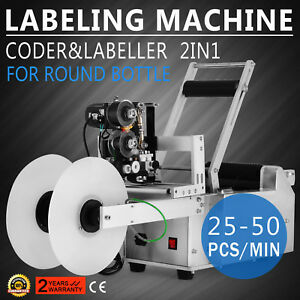 Lt 50d Automatic Round Bottle Labeling Machine With Date Code Printer Labeller