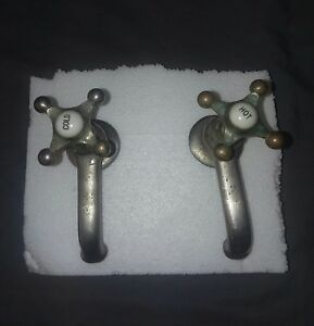 Antique Peck Bros Nickel Brass Separate Hot Cold Sink Faucet Plumbing Vtg 79 18f