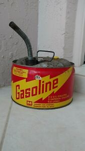 Vintage Midwest Metal Gas Can Flexible Metal Spout Usa Vented