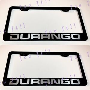 2x Durango Dodge Hemi Stainless Steel Black License Plate Frame Rust Free