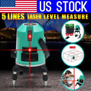 Usa 5 Line Laser Automatic Level Red Self leveling 360 Rotating Cross Measure