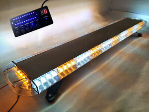 55 104w Led White amber Strobe Light Bar Emergency Beacon Hazard Warning Flash