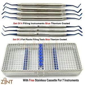 Dental Composite Flat Plastic Restorative Filling Instruments With Mesh Tray New