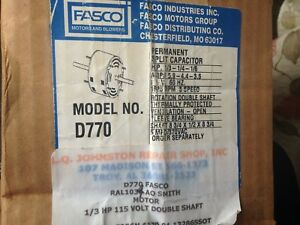 Fasco D770 Double Shaft Psc Motor Replaces Ao Smith Ral1034 New In Box
