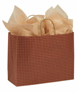 Paper Shopping Bags 100 Red Gingham Gift Retail Merchandise 16 X 6 X 12 Vogue