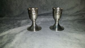 Vintage Sterling Silver Cut Work Cordial Glass Holders Pairvgucsb