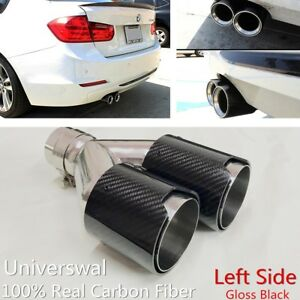 Real 100 carbon Fiber Left Side Exhaust Dual Pipes 2 5 In 3 5 Out For Bmw
