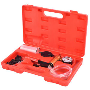 Car Hand Held Vacuum Pressure Pump Tester Set Brake Fluid Bleeding Bleeder Kit