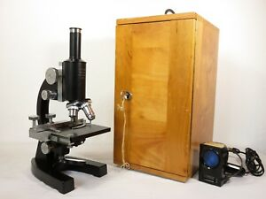Vtg Antique Optikon Wetzlar 4359 Leitz Microscope 4 Kohler Objectives Wood Case