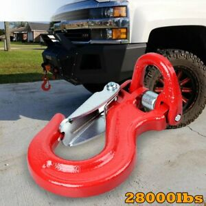 Red 28000lbs Half Link Clevis Safety Latch Swivel Winch Rope Hook 3 8 1 2 Cable