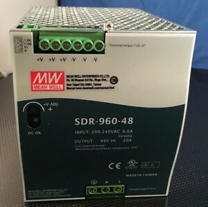 New Open Box Mean Well Sdr 960 48 Ac dc Power Supply Single out 48v 20a 960w
