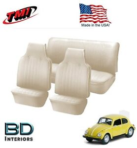 1968 1969 Vw Volkswagen Bug Beetle Slip On Seat Upholstery Off White In Stock