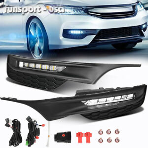 For 2016 2017 Honda Accord Sedan Led Fog Lights Front Bumper Lamps Wiring Switch