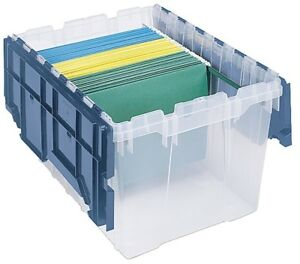 12 Gallon Plastic Storage Hanging File Box Organizer With Attached Lid Container