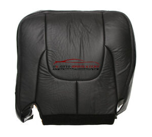 03 Dodge Ram 3500 Laramie Driver Side Bottom Leather Seat Cover Dark Gray